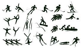 Sistema de iconos del deporte de invierno Foto de archivo