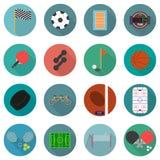 Sistema de iconos del deporte en diseño plano con la parte larga 2 de las sombras Fotos de archivo libres de regalías