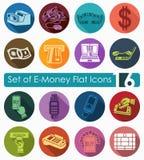 Sistema de iconos del dinero electrónico Fotografía de archivo libre de regalías