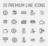 Sistema de iconos del dinero en la línea estilo fina moderna stock de ilustración