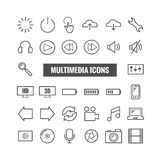 Sistema de iconos del esquema de las multimedias Iconos finos para la impresión, web, apps móviles Foto de archivo libre de regalías