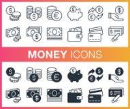 Sistema de iconos del esquema y del dinero plano Fotos de archivo