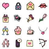 Sistema de iconos del garabato del color - Valentine Day Signs del vector stock de ilustración
