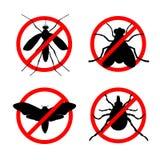 Sistema de iconos del insecto de la parada ilustración del vector