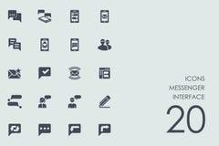 Sistema de iconos del interfaz del mensajero Imágenes de archivo libres de regalías