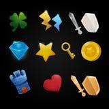 Sistema de iconos del juego de la tienda del app, ejemplo, diamante, torre, escudo, espada, pecho, trébol, suerte, poder, relámpa Imagenes de archivo