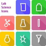 Sistema de iconos del laboratorio de chem Imagen de archivo libre de regalías