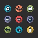 Sistema de iconos del longshadow de la aptitud del vector Imagen de archivo libre de regalías