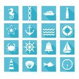 Sistema de iconos del mar Imágenes de archivo libres de regalías