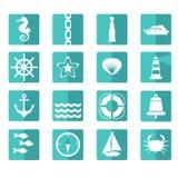 Sistema de iconos del mar Fotos de archivo libres de regalías