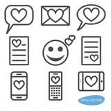 Sistema de iconos del mensaje del amor ilustración del vector
