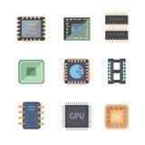 Sistema de iconos del microchip del vector en el fondo blanco Imagen de archivo libre de regalías