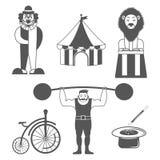Sistema de iconos del monocromo del circo Diseñe los elementos para el logotipo, etiqueta, emblema Foto de archivo libre de regalías