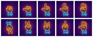 Sistema de iconos del neón de los gestos de mano Fotos de archivo libres de regalías