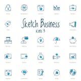 Sistema de iconos del negocio del bosquejo con acento azul stock de ilustración