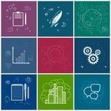 Sistema de iconos del negocio, línea estilo Imagen de archivo libre de regalías