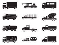 Sistema de iconos del negro del camión Fotos de archivo libres de regalías