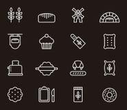 Sistema de iconos del pan y de la panadería Foto de archivo