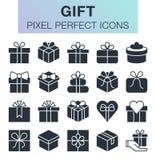 Sistema de iconos del regalo Fotografía de archivo