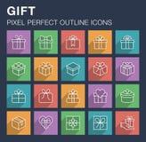 Sistema de iconos del regalo con la sombra larga Fotografía de archivo