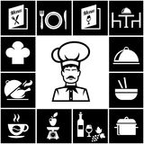 Sistema de iconos del restaurante en blanco en negro Imagen de archivo