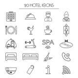 Sistema de iconos del servicio de hotel linear Aislado Imágenes de archivo libres de regalías
