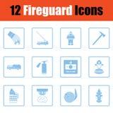 Sistema de iconos del servicio de incendios ilustración del vector