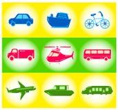 Sistema de iconos del transporte Foto de archivo libre de regalías