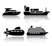 Sistema de iconos del transporte - transporte del agua Fotos de archivo libres de regalías