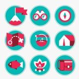 Sistema de iconos del turismo y de la reconstrucción Foto de archivo libre de regalías
