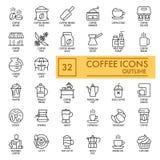 Sistema de iconos del vector del café en el fondo blanco Línea iconos simples Cncept del café Diseño del esquema EPS 10 Imagen de archivo libre de regalías