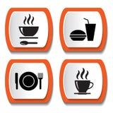 Sistema de iconos del vector con la comida Foto de archivo libre de regalías