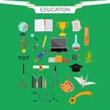 Sistema de iconos del vector de la educación Imágenes de archivo libres de regalías