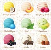 Sistema de iconos del vector de la historieta aislados en el fondo blanco Cucharadas del helado con diversos sabores de la fruta  Fotos de archivo libres de regalías