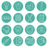 Sistema de iconos del vector en estilo linear dental libre illustration