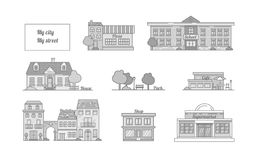 Sistema de iconos del vector de los edificios, cafés, escuela, casa, tienda, su libre illustration