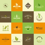 Sistema de iconos del vegano y del vegetariano ilustración del vector