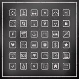 Sistema de iconos del viaje del vector del tablero de tiza Imagen de archivo