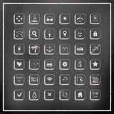 Sistema de iconos del viaje del vector del tablero de tiza Foto de archivo libre de regalías