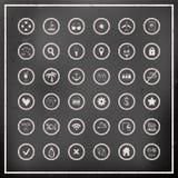 Sistema de iconos del viaje del vector del tablero de tiza Imagen de archivo libre de regalías