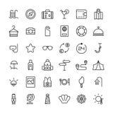 Sistema de iconos del viaje en la línea estilo fina moderna Fotos de archivo libres de regalías