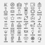 Sistema de iconos del viaje en la línea estilo fina moderna Fotos de archivo