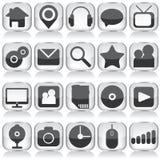 Sistema de iconos del vidrio del web Fotografía de archivo libre de regalías