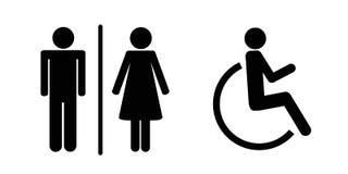 Sistema de iconos del WC aislados en un pictograma hembra-varón y perjudicado blanco del fondo de la persona del retrete de la mu ilustración del vector