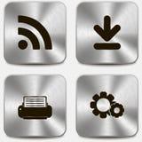 Sistema de iconos del Web en los botones metálicos vol4 Imagenes de archivo