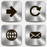 Sistema de iconos del Web en los botones metálicos vol1 Foto de archivo libre de regalías