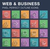 Sistema de iconos del web y del negocio con la sombra larga Fotos de archivo