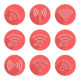 Sistema de iconos del wifi del esquema en círculos rojos con de largo Fotos de archivo