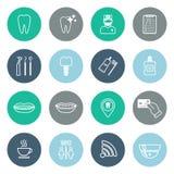 Sistema de iconos dentales lineares Diseño plano Imagen de archivo libre de regalías