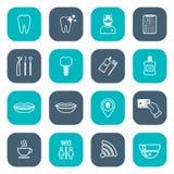 Sistema de iconos dentales lineares Diseño plano blanco Foto de archivo libre de regalías